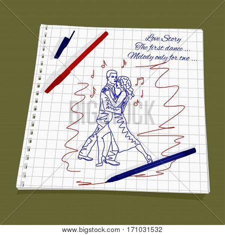 Love Story - beautiful dance for lovers. Vector illustration dancing of a loving couple. Cute Romantic simple drawing a red and blue ballpoint pen on
