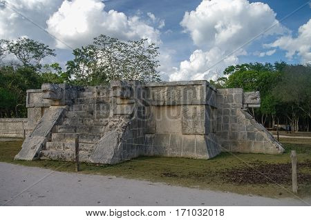 Platform Of The Eagles And The Jaguars, Chichen Itza, Mexico.