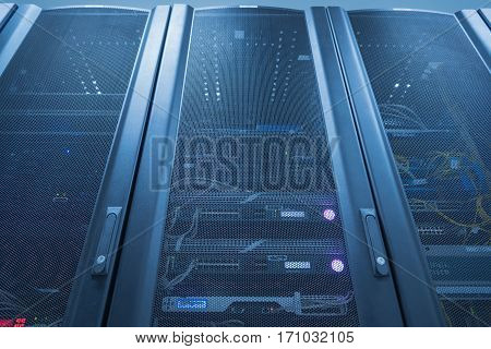 Server Rack With LED Indictor Inside, Internet Datacenter Concept