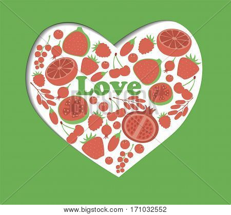 Red fruit berry heart love. Vegan vegetarian diet menu eco natural food. Pomegranate cranberry barberry guava vector illustration icon set
