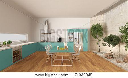 White And Turquoise Kitchen With Inner Garden, Minimal Interior Design