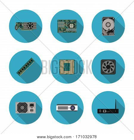 flat icons computer components in vector format eps10