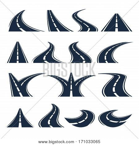 Isolated black color winding curved road or highway with dividing markings on white background vector illustrations set