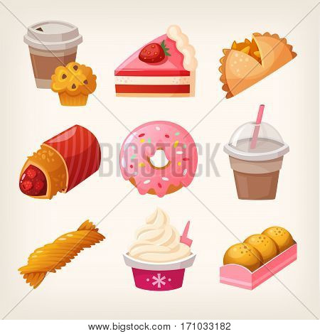 Set of colorful fast food desserts and sweets. Isolated vector fruit pies strawberry cakes and diary products with topping