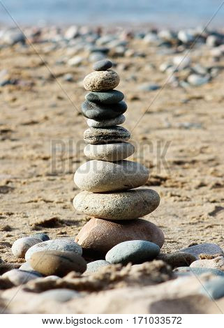 Cairn built on Lake Superior lakeshore near Pictured Rocks