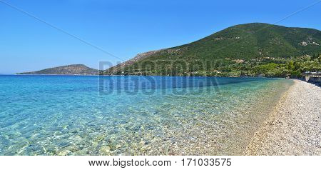 turquoise sea at Ithaca beach Ionian islands Greece