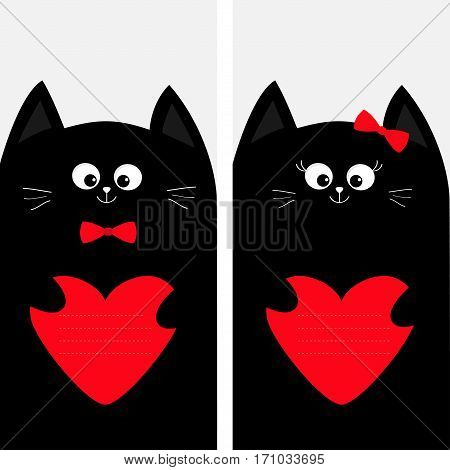 Black cat kitty family holding red heart shape paper. Poster Notebook cover Composition book template. Cute cartoon character set. Pet baby collection Card. Flat design. White background Vector