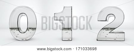 Transparent glass water numbers 3d rendering, 0, 1, 2, path save