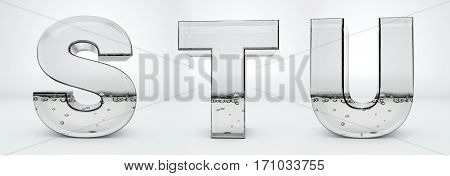 Transparent glass water letters 3d rendering, S, T, U, path save