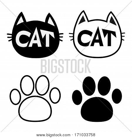 Black cat head face contour silhouette icon set. Line pictogram. Empty temlate. Paw print track. Cute funny cartoon character. Kitty kitten whisker Baby pet. White background. Isolated. Flat Vector