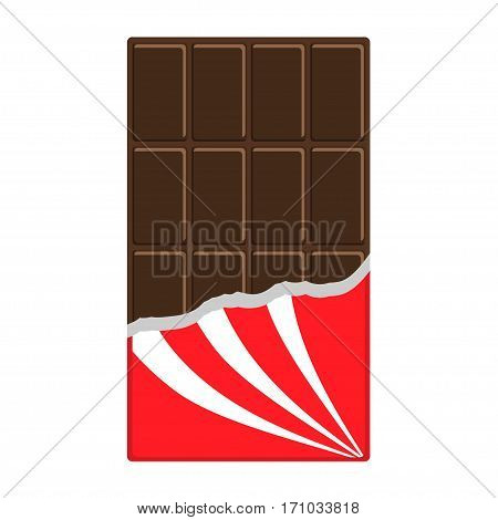 Chocolate bar icon. Opened red wrapping paper foil. Tasty sweet food. Dark dessert. Rectangle shape Vertical piece. Modern simple style. Flat design. White background. Isolated. Vector illustration