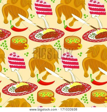 Seamless vector food pattern with chicken, stake, soup and cake