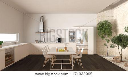 White Kitchen With Inner Garden, Minimal Interior Design