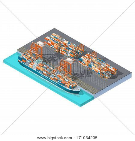 Modern sea container terminal isometric icon set vector graphic illsutration