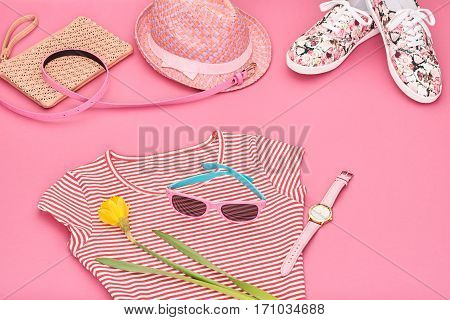 Summer Hipster style.Design Spring Fashion girl clothes setaccessories.Trendy sunglasses floral gumshoes.Summer hipster dressfashion watch hatspring flower.Summer Urban woman look.Perspective view