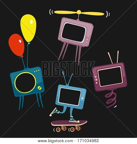 Kids Television Icons Vector Illustration eps 8 file format