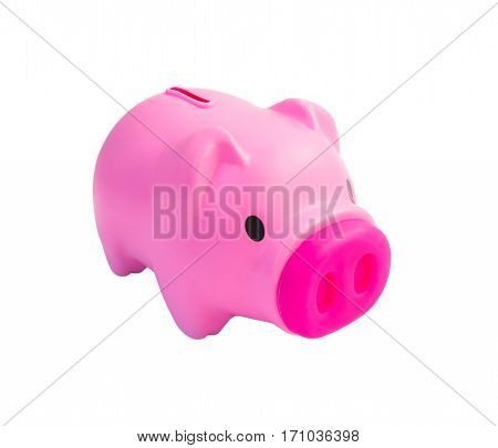 Cute pink piggy bank isolated on white background