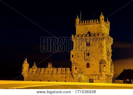 Belem tower at night. Historical monument in Lisbon Portugal Europe.