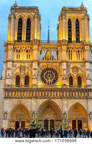 Notre Dame de Paris Cathedral Paris France evening view.
