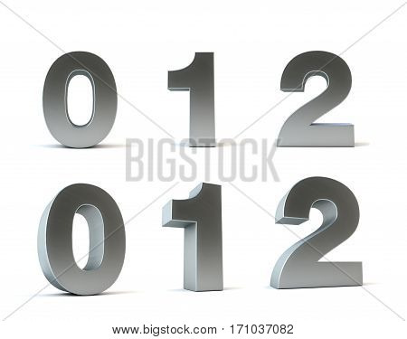 Metal numbers 3d rendering isolated path save, 0, 1, 2