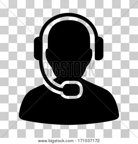 Call Center Operator icon. Vector illustration style is flat iconic symbol black color transparent background. Designed for web and software interfaces.