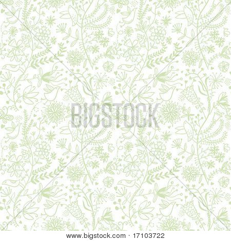 Cartoon floral seamless pattern in spring colors