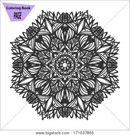 Mandala. Coloring page. Vintage decorative elements. Oriental pattern, vector illustration. Islam, Arabic Indian turkish pakistan chinese ottoman motifs