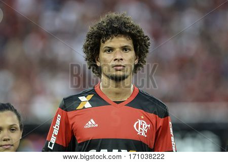 Rio Brazil - february 12 2017: Willian Arao during Botafogo X Flamengo held at the Nilton Santos Stadium for the 4th round of the Carioca championship (Guanabara Cup)