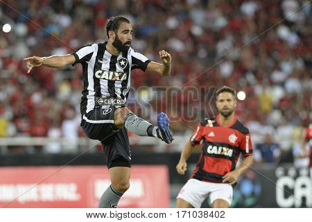 Rio Brazil - february 12 2017: Renan Fonseca during Botafogo X Flamengo held at the Nilton Santos Stadium for the 4th round of the Carioca championship (Guanabara Cup)