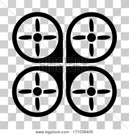 Copter icon. Vector illustration style is flat iconic symbol black color transparent background. Designed for web and software interfaces.