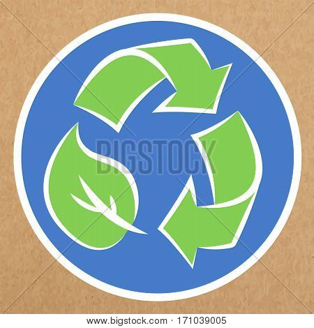Recyclable badge organic production sign isolated vector object