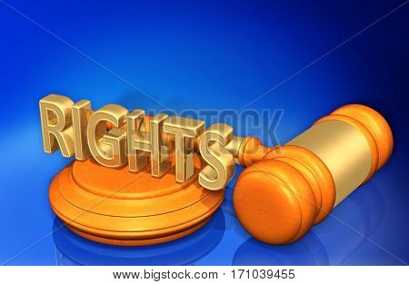 Rights Legal Gavel Concept 3D Illustration
