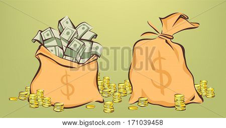 Money bags with bunches of dollars coins stacks beside opened and closed pouches cartoon style isolated vector illustration