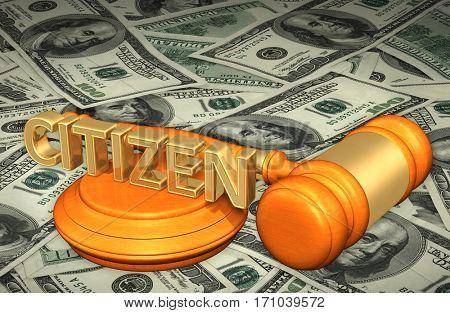 Citizen Legal Gavel Concept 3D Illustration