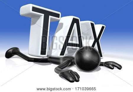 The Original 3D Character Illustration Crushed By The Word Tax