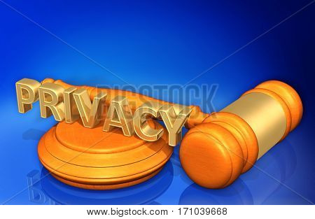 Privacy Law Legal Gavel Concept 3D Illustration