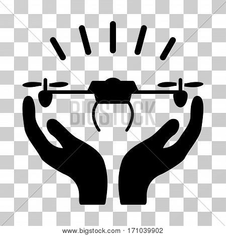 Drone Launch Hands icon. Vector illustration style is flat iconic symbol black color transparent background. Designed for web and software interfaces.