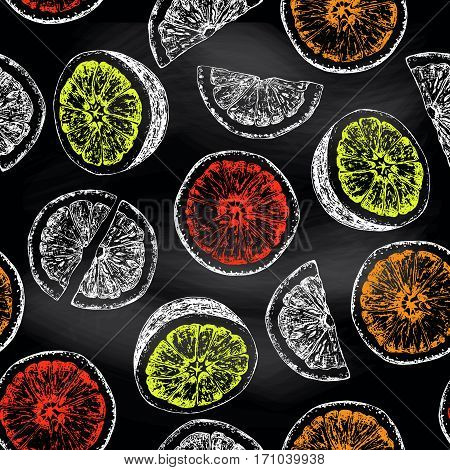 Seamless pattern of isolated hand drawn citrus fruits in sketch style overlay on chalkboard. Vector illustration.