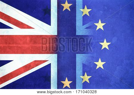 flag of EU on cracked wood - Brexit concept