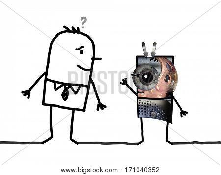 Cartoon human and Alien