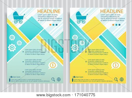 Baby Buggy Symbol On Vector Brochure Flyer Design Layout Template