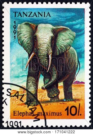 TANZANIA - CIRCA 1991: a stamp printed in Tanzania shows Asian elephant elephas maximus animal circa 1991