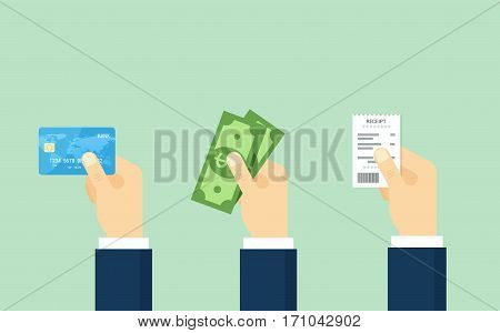 Hand holding debit credit card, cash and receipt. Flat vector illustration. Payment concept.
