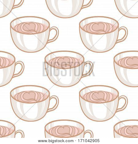 February 14, Valentines Day Breakfast Seamless Pattern