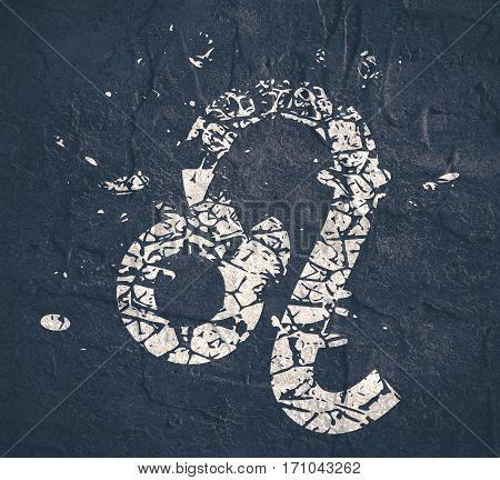 Astrological symbol. Lion sign. Grunge splatter texture