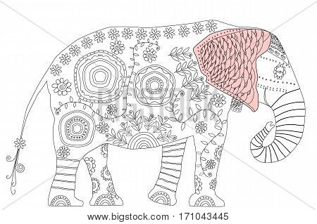 Decorative elephant. Adult antistress coloring page. Black and white illustration with colored ear for coloring book
