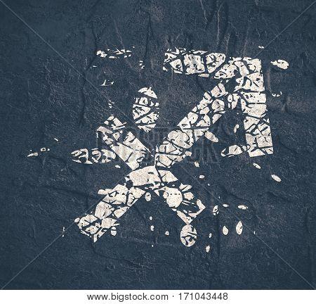 Astrological symbol. Archer sign. Grunge splatter texture
