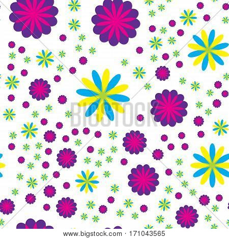 Seamless pattern with different size flowers on white background