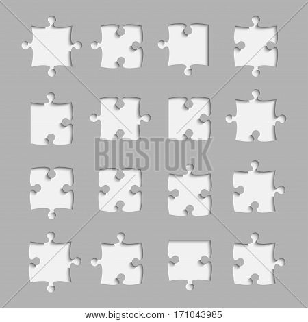16 Black Piece Flat Puzzle Round Infographic Presentation. 16 Step Suqare Business Diagram. Set Section Compare Service Banner. Vector Illustration Template Shape . Abstract Object.