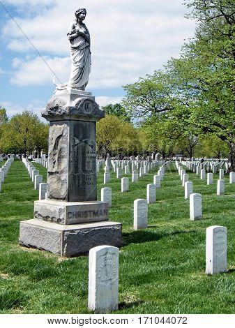 Arlington USA - April 9 2010: Christman Monument on the Arlington National Cemetery.